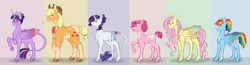 Size: 4788x1252 | Tagged: safe, artist:kayotanv87, applejack, fluttershy, pinkie pie, rainbow dash, rarity, twilight sparkle, alicorn, earth pony, pegasus, pony, unicorn, abstract background, alternate hairstyle, alternate universe, blaze (coat marking), braid, coat markings, collar, colored wings, dappled, female, glasses, grin, hair bun, headcanon, leonine tail, lidded eyes, line-up, looking at you, mane six, mare, neckerchief, open mouth, ponytail, rainbow power, raised hoof, redesign, size difference, smiling, socks (coat marking), straw in mouth, tail jewelry, twilight sparkle (alicorn), unshorn fetlocks, wings