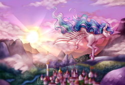 Size: 2982x2010 | Tagged: safe, artist:kayotanv87, princess celestia, alicorn, pony, beautiful, crepuscular rays, female, flying, glowing horn, horn, lidded eyes, looking back, mare, missing accessory, mountain, mountain range, river, scenery, smiling, solo, spread wings, sun, sunrise, town, village, wings