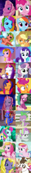Size: 464x2566 | Tagged: safe, screencap, applejack, applejack (g3), cheerilee, cheerilee (g3), coconut cream, daisy jo, daisyjo, master kenbroath gilspotten heathspike, pinkie pie, pinkie pie (g3), rainbow dash, rainbow dash (g3), spike, toola roola, cow, dragon, earth pony, pegasus, pony, unicorn, a friend in deed, fame and misfortune, meet the ponies, newbie dash, positively pink, secrets and pies, sleepless in ponyville, testing testing 1-2-3, the crystalling, the last crusade, the princess promenade, the runaway rainbow, the ticket master, spoiler:s09e12, comparison, female, filly, g3, g3 to g4, generation leap, mare, one of these things is not like the others