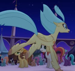 Size: 761x719 | Tagged: safe, screencap, chocolate apple, dawn sunrays, princess skystar, earth pony, hippogriff, pony, my little pony: the movie, background pony, cropped, female, mare, solo focus, unnamed pony