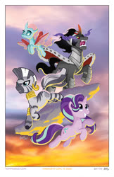 Size: 647x1000   Tagged: safe, artist:tonyfleecs, king sombra, ocellus, starlight glimmer, zecora, changedling, changeling, pony, umbrum, unicorn, zebra, female, flying, harmonycon 2020, leaping, male, mare, stallion