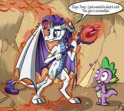 Size: 504x451 | Tagged: safe, artist:sirzi, edit, rarity, spike, dragon, gauntlet of fire, bloodstone scepter, cropped, dialogue, dragonified, female, heart eyes, male, raridragon, shipping, sparity, species swap, straight, transformation, wingding eyes