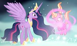 Size: 724x432 | Tagged: safe, artist:mlptmntdisneykauane, luster dawn, twilight sparkle, alicorn, pony, unicorn, the last problem, spoiler:s09e26, alternate timeline, ascension, base used, crown, duo, jewelry, magic, next generation, older, older twilight, princess twilight 2.0, regalia, twilight sparkle (alicorn), wings