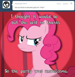Size: 653x670 | Tagged: safe, artist:patec, pinkie pie, pony, ask pun, ask, ask tickled pinkie, solo