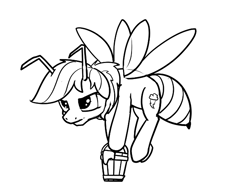 Size: 703x548 | Tagged: safe, anonymous artist, rainbow dash, bee, bee pony, insect, original species, pegasus, pony, abdomen, antennae, bucket, female, flying, food, honey, simple background, solo, species swap, wings