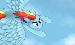 Size: 3580x2140 | Tagged: safe, artist:waffletheheadmare, rainbow dash, pegasus, pony, cloud, cutie mark, eyelashes, feather, flying, multicolored hair, pink eyes, sky, smiling, wings
