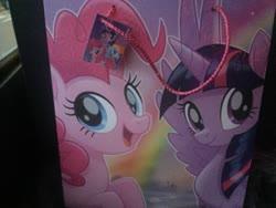 Size: 3264x2448 | Tagged: safe, pinkie pie, rainbow dash, twilight sparkle, alicorn, pegasus, pony, my little pony: the movie, bag, irl, photo