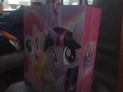 Size: 3264x2448 | Tagged: safe, pinkie pie, spike, twilight sparkle, alicorn, dragon, earth pony, pony, my little pony: the movie, bag, irl, looking at you, photo