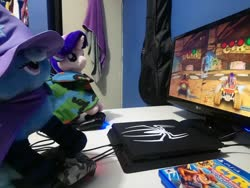 Size: 2048x1537 | Tagged: safe, artist:cloud burst, artist:max rider, starlight glimmer, trixie, crash bandicoot, female, irl, photo, playing, playstation 4, plushie, spider-man, the great and powerful, trixie lulamoon and starlight glimmer