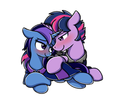 Size: 2560x2048 | Tagged: safe, alternate version, artist:sugar morning, twilight sparkle, oc, oc:aurora shine (loe), pony, unicorn, blushing, canon x oc, clothes, commission, dusk shine, female, looking at each other, lying down, male, r63 shipping, robe, rule 63, shipping, simple background, stallion, transparent background