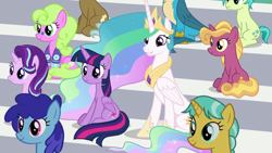 Size: 1920x1080 | Tagged: safe, screencap, citrine spark, clever musings, cloudburst, daisy, fire flicker, fire quacker, flower wishes, gallus, princess celestia, sandbar, starlight glimmer, twilight sparkle, alicorn, 2 4 6 greaaat, friendship student, twilight sparkle (alicorn)