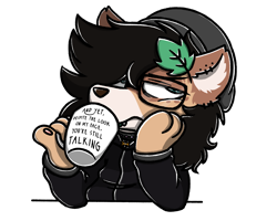 Size: 2560x2048 | Tagged: safe, artist:sugar morning, oc, oc only, oc:finn, dog, dog pony, pony, wolf, wolf pony, beanie, bored, clothes, coffee mug, colored, commission, drinking, ear piercing, earring, glasses, hat, hoodie, jewelry, leaf, looking away, messy mane, mug, paws, piercing, pinky out, simple background, solo, sweater, text, transparent background
