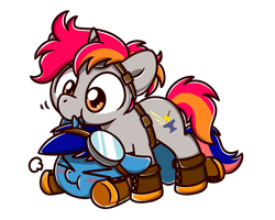 Size: 2560x2048 | Tagged: source needed, useless source url, safe, artist:sugar morning, oc, oc only, oc:ironfire, oc:ryo, pony, unicorn, adorable distress, adorable face, belt, biting, blushing, boots, chibi, clothes, commission, cute, cutie mark, duo, ear bite, female, floppy ears, glasses, goggles, iryo, male, mare, nibbling, on top, ship, shoes, simple background, stallion, standing, straight, transparent background