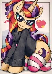 Size: 1439x2048 | Tagged: safe, artist:canvymamamoo, moondancer, pony, unicorn, clothes, female, glasses, heart, looking at you, mare, socks, solo, striped socks, sweater, traditional art