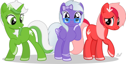 Size: 4500x2308 | Tagged: safe, artist:arifproject, oc, oc only, oc:comment, oc:downvote, oc:upvote, earth pony, pegasus, unicorn, derpibooru, cute, derpibooru ponified, glasses, hairclip, meta, ponified, raised hoof, ribbon, simple background, transparent background, vector