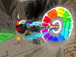 Size: 2828x2121 | Tagged: safe, artist:apuljack, rainbow dash, pegasus, pony, awesome, badass, borderlands 2, caustic caverns, cool, epic, fast, female, gear, mare, mask, solo, sonic rainboom, spread wings, sword, weapon, wings, zer0