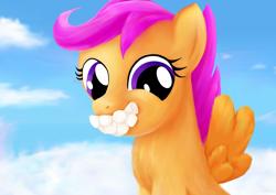 Size: 3508x2480 | Tagged: safe, artist:joycat, scootaloo, pony, cloud, cute, food, gentlemen, marshmallow, solo