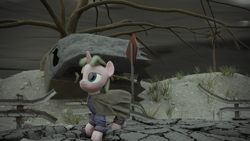 Size: 1920x1080 | Tagged: safe, artist:ooredelen, oc, oc only, pony, unicorn, fallout equestria, 3d, blender, blender cycles, blue eyes, cloak, clothes, cloud, cloudy, dead tree, dirt, dirty, fanfic, fanfic art, female, hair, high res, horn, lidded eyes, mare, plant, post-apocalyptic, road, scenery, sign, solo, stone, tree, wagon, wasteland