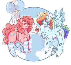 Size: 1024x942 | Tagged: safe, artist:plagued-arts, pinkie pie, rainbow dash, earth pony, pegasus, pony, balloon, chest fluff, clothes, female, floating, flying, hooves, lesbian, mare, pinkiedash, shipping, socks, striped socks, then watch her balloons lift her up to the sky, wings