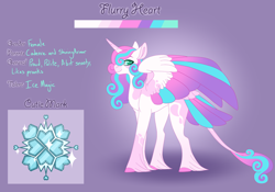 Size: 3500x2454 | Tagged: safe, artist:clay-bae, princess flurry heart, alicorn, pony, alternate design, alternate universe, colored wings, female, multicolored wings, older, older flurry heart, purple background, reference sheet, simple background, solo, unshorn fetlocks, wings