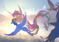 Size: 1280x917 | Tagged: safe, artist:lldelphin, artist:tabu-rat, fluttershy, rainbow dash, bird, pegasus, pony, beautiful, butt, duo, female, flutterdash, flying, lesbian, long tail, mare, plot, rainbutt dash, scenery, shipping, sky, smiling, spread wings, sunlight, wings
