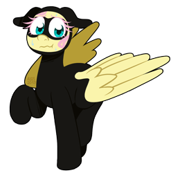 Size: 1050x1050 | Tagged: safe, artist:alittleofsomething, fluttershy, sparkle's seven, :t, catsuit, cute, domino mask, floppy ears, flutterspy, mane, mask, nervous, raised hoof, shyabetes, simple background, solo, sweat, transparent background, wavy mouth