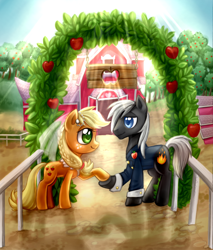 Size: 2550x2995   Tagged: source needed, useless source url, safe, artist:ailish, applejack, oc, oc:dragon, earth pony, pony, apple, apple tree, barn, bedroom eyes, canon x oc, clothes, dragojack, dress, female, fence, food, grass, holding hooves, looking at each other, male, mare, marriage, shadow, shipping, smiling, stallion, sun, tree, wedding