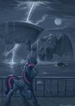 Size: 3508x4961 | Tagged: safe, artist:kozachokzrotom, twilight sparkle, alicorn, pony, cthulhu, cthulhu mythos, cthulu fh'tagn, female, innsmouth, lightning, looking up, mare, raised hoof, song reference in the description, twilight sparkle (alicorn)