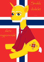 Size: 1545x2187 | Tagged: safe, artist:sw, oc, oc:neighvar horsen, pony, unicorn, cutie mark, flag, gulating, ivar aasen, male, new norwegian, new ponish, norway, norwegian, nynorsk, ponified, sitting, solo, translated in the description, vector