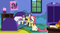 Size: 5000x2812 | Tagged: safe, artist:velveagicsentryyt, comet tail, moondancer, oc, oc:little dream, oc:starling, pony, unicorn, baby, baby pony, base used, book, cometdancer, family, female, filly, high res, inkwell, magic, male, offspring, parent:comet tail, parent:moondancer, parents:cometdancer, scroll, shipping, sihovi, straight, written equestrian