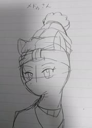 Size: 1469x2048 | Tagged: safe, artist:omegapony16, meadowbrook, earth pony, pony, bust, female, hat, japanese, lineart, lined paper, mare, solo, text, traditional art