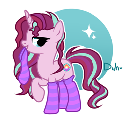 Size: 696x661 | Tagged: safe, artist:duhhh, oc, oc only, oc:dawn light (ice1517), pony, unicorn, icey-verse, bedroom eyes, clothes, female, looking at you, magical lesbian spawn, mare, mouth hold, multicolored hair, offspring, parent:starlight glimmer, parent:sunset shimmer, parents:shimmerglimmer, raised hoof, socks, solo, striped socks, ych result