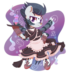 Size: 2100x2165 | Tagged: safe, artist:musicfirewind, oc, oc only, oc:jungle rumble, ghost, pegasus, pony, undead, bipedal, choker, clothes, crossdressing, cute, dress, flats, food, glass, gloves, hoof hold, ice cream, maid, male, markings, ocbetes, older, raised eyebrow, raised hoof, simple background, solo, stallion, tattoo, transparent background, tray, ych result