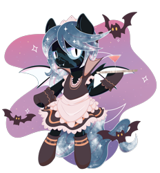 Size: 1948x2100 | Tagged: safe, artist:musicfirewind, oc, oc only, oc:winter's night, bat, bat pony, pony, alcohol, apron, bat pony oc, bipedal, clothes, cute, dress, drink, ethereal mane, eye scar, fangs, female, fingerless gloves, glass, gloves, hoof hold, maid, maid headdress, mare, martini, raised hoof, scar, simple background, socks, solo, starry mane, stockings, thigh highs, transparent background, tray, ych result