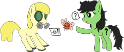 Size: 3415x1439   Tagged: safe, artist:poniidesu, oc, oc only, oc:filly anon, earth pony, parasprite, pony, /mlp/, biohazard, colored, coronavirus, drawthread, duo, female, filly, flat colors, gas mask, hazmat suit, latex, latex suit, mare, mask, messy mane, pointing, simple background, transparent background, unknown pony