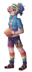 Size: 2200x4960 | Tagged: safe, artist:kikirdcz, rainbow dash, human, basketball, clothes, commission, female, humanized, jacket, shorts, simple background, socks, solo, sports, striped socks, transparent background