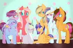 Size: 2858x1872 | Tagged: safe, artist:coconutowl, artist:princessalisalight, oc, oc:apple juice, oc:blue melody, oc:cotton candy, oc:diamond sky, oc:magical sun, oc:princess stella sparkle, oc:rainbow rising, oc:shy flower, alicorn, dracony, hybrid, pony, alicorn oc, blank flank, bow, bracelet, choker, colored hooves, colored horn, cutie mark, earth pony oc, female, glasses, hair bow, horn, interspecies offspring, jewelry, magical lesbian spawn, multicolored hair, next generation, offspring, parent:applejack, parent:big macintosh, parent:caramel, parent:cheese sandwich, parent:flash sentry, parent:fluttershy, parent:pinkie pie, parent:rainbow dash, parent:rarity, parent:soarin', parent:spike, parent:starlight glimmer, parent:sunburst, parent:trixie, parent:twilight sparkle, parents:carajack, parents:cheesepie, parents:flashlight, parents:fluttermac, parents:soarindash, parents:sparity, parents:starburst, parents:startrix, pegasus oc, polka dot background, siblings, sisters, striped mane, tiara, two-tone mane, unicorn oc