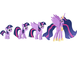 Size: 1024x768 | Tagged: safe, twilight sparkle, alicorn, pony, unicorn, the last problem, spoiler:s09e26, age progression, comparison, female, filly, filly twilight sparkle, foal, horn, mare, older, older twilight, older twilight sparkle (alicorn), princess twilight 2.0, smiling, twilight sparkle (alicorn), unicorn twilight, wings, wrong aspect ratio, younger