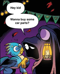 Size: 1024x1254 | Tagged: safe, artist:andypriceart, edit, idw, gallus, twilight sparkle, griffon, pony, spoiler:comic, spoiler:comic71, candle, cloak, clothes, cropped, duo, hood, hoof hold, hooves, lantern, male, official comic, purple background, shocked, simple background, speech bubble