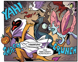 Size: 1856x1492 | Tagged: safe, artist:andypriceart, idw, ocellus, queen chrysalis, smolder, bird, changedling, changeling, dragon, spoiler:comic, spoiler:comic71, angry, cropped, decoration, dragoness, female, halloween, holiday, jack-o-lantern, nightmare night, official comic, onomatopoeia, pumpkin, punch, sound effects, speech bubble