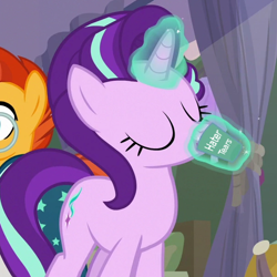 Size: 600x600 | Tagged: safe, edit, edited screencap, screencap, starlight glimmer, sunburst, pony, student counsel, spoiler:s09e11, cropped, drinking, meme, your tears are delicious