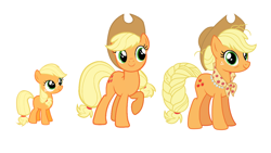 Size: 1280x720 | Tagged: safe, applejack, earth pony, pony, the last problem, spoiler:s09e26, age progression, comparison, female, filly, filly applejack, foal, granny smith's scarf, mare, older, older applejack, smiling, younger