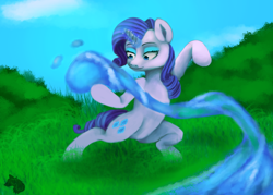 Size: 2100x1500 | Tagged: safe, artist:jazzwolf347, rarity, pony, unicorn, action pose, avatar the last airbender, bipedal, crossover, cutie mark, female, magic, mare, smiling, solo, speedpaint available, waterbending