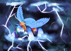 Size: 2100x1500   Tagged: safe, artist:jazzwolf347, rainbow dash, pegasus, pony, cloud, female, glowing eyes, lightning, mare, narrowed eyes, open mouth, solo, speedpaint available, spread wings, storm, wings