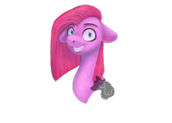 Size: 2100x1500 | Tagged: safe, artist:jazzwolf347, pinkie pie, pony, bust, creepy, creepy smile, female, floppy ears, grin, looking at you, mare, pinkamena diane pie, pinpoint eyes, simple background, smiling, solo, transparent background