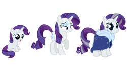 Size: 1280x720 | Tagged: safe, rarity, pony, unicorn, the last problem, spoiler:s09e26, age progression, comparison, female, filly, filly rarity, foal, horn, mare, older, older rarity, smiling, younger