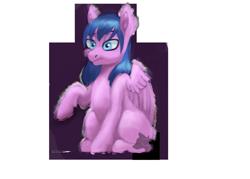 Size: 1024x732 | Tagged: safe, artist:jazzwolf347, oc, oc only, pegasus, pony, female, lidded eyes, mare, raised hoof, redraw, simple background, sitting, solo, transparent background