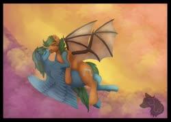 Size: 900x643 | Tagged: safe, artist:jazzwolf347, oc, oc only, bat pony, pegasus, pony, bat pony oc, blank flank, cloud, commission, cutie mark, flying, kissing, shipping, spread wings, wings