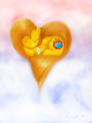 Size: 744x992 | Tagged: safe, artist:joycat, oc, oc:fire ice, pegasus, pony, female, heart pony, mare, sleeping, solo