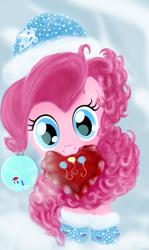 Size: 2893x4844 | Tagged: safe, alternate version, artist:joycat, pinkie pie, pony, christmas ornament, decoration, heart, heart pillow, mouth hold, pillow, snow cap, solo